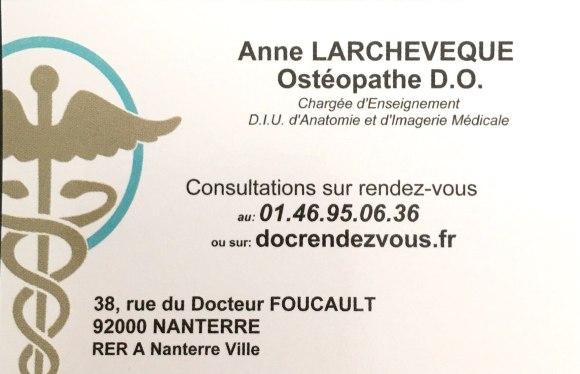CARTE DE VISITE Mme Larchevêque